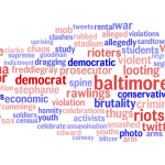 Word usage in partisan news stories about 'Freddie Gray'.  Darker red indicates more conservative, darker blue indicates more liberal. Larger size indicates higher word frequency (log-scaled).