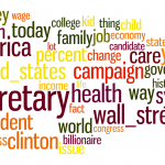 Bernie Sanders' most central debate words. Size is proportional to the centrality.